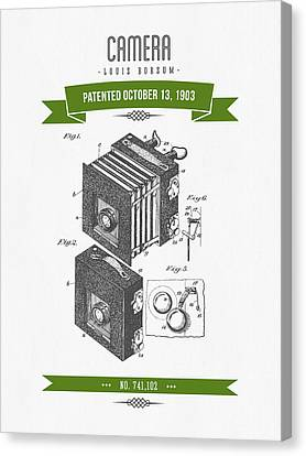 1903 Camera Patent Drawing - Retro Green Canvas Print by Aged Pixel