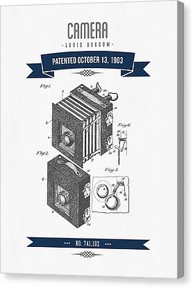 1903 Camera Patent Drawing - Retro Navy Blue Canvas Print by Aged Pixel