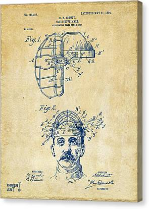 1904 Baseball Catchers Mask Patent Artwork - Vintage Canvas Print by Nikki Marie Smith