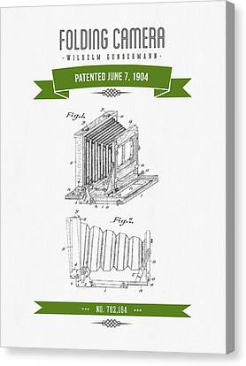 1904 Folding Camera Patent Drawing - Retro Green Canvas Print by Aged Pixel