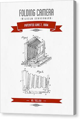 1904 Folding Camera Patent Drawing - Retro Red Canvas Print by Aged Pixel
