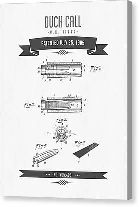 1905 Duck Call Instrument Patent Drawing Canvas Print by Aged Pixel