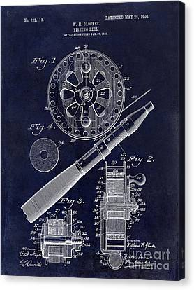 1906 Fishing Reel Patent Drawing Blue Canvas Print by Jon Neidert