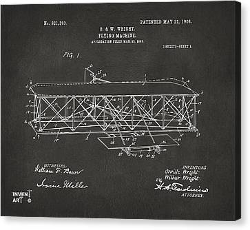 1906 Wright Brothers Flying Machine Patent Gray Canvas Print by Nikki Marie Smith