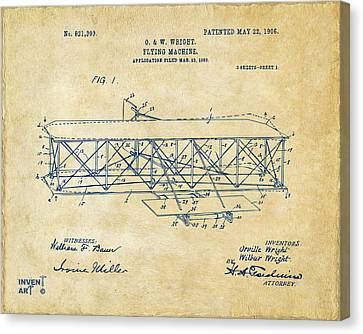 1906 Wright Brothers Flying Machine Patent Vintage Canvas Print by Nikki Marie Smith