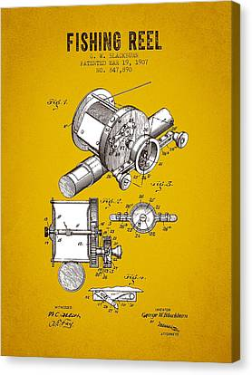 1907 Fishing Reel Patent - Yellow Brown Canvas Print by Aged Pixel