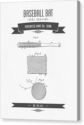 1908 Baseball Bat Patent Drawing Canvas Print by Aged Pixel