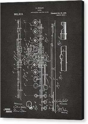 1908 Flute Patent - Gray Canvas Print by Nikki Marie Smith