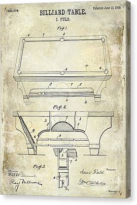 1909 Billiard Table Patent Drawing  Canvas Print by Jon Neidert