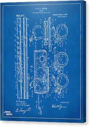 1909 Flute Patent - Blueprint Canvas Print by Nikki Marie Smith
