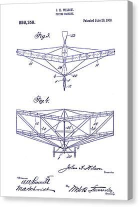1909 Flying Machine Patent Drawing Blueprint Canvas Print by Jon Neidert