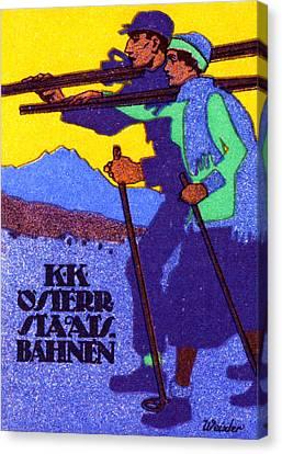 1910 Austrian Ski Poster Canvas Print by Historic Image