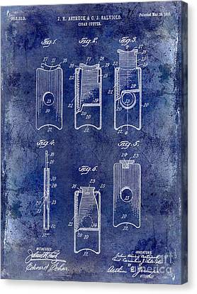 1910 Cigar Cutter Patent Drawing Blue Canvas Print by Jon Neidert