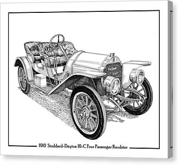 1910 Stoddard Dayton 10 C Roadster Canvas Print by Jack Pumphrey