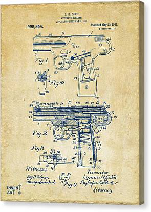 1911 Automatic Firearm Patent Artwork - Vintage Canvas Print by Nikki Marie Smith