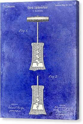 1913 Cork Extractor Patent Drawing 2 Tone Blue Canvas Print by Jon Neidert