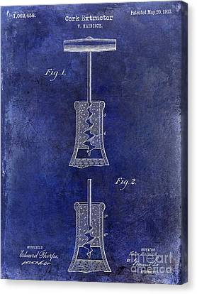 1913 Cork Extractor Patent Drawing Blue Canvas Print by Jon Neidert