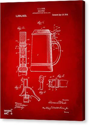 1914 Beer Stein Patent Artwork - Red Canvas Print by Nikki Marie Smith