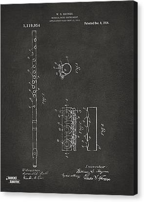 1914 Flute Patent - Gray Canvas Print by Nikki Marie Smith