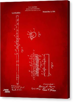 1914 Flute Patent - Red Canvas Print by Nikki Marie Smith