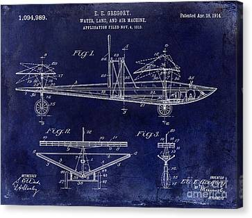 1914 Water Land And Air Machine Patent Blue Canvas Print by Jon Neidert