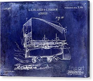 1919 Airship Patent Drawing Blue Canvas Print by Jon Neidert