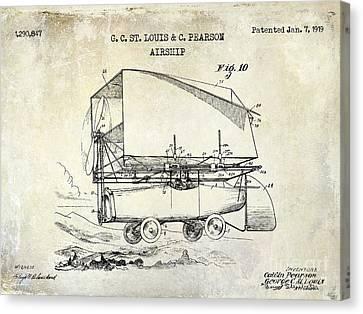 1919 Airship Patent Drawing Canvas Print by Jon Neidert