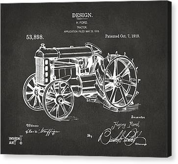 1919 Henry Ford Tractor Patent Gray Canvas Print by Nikki Marie Smith