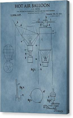 1920 Hot Air Balloon Patent Blue Canvas Print by Dan Sproul