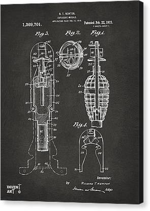 1921 Explosive Missle Patent Gray Canvas Print by Nikki Marie Smith