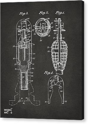 1921 Explosive Missle Patent Minimal Gray Canvas Print by Nikki Marie Smith