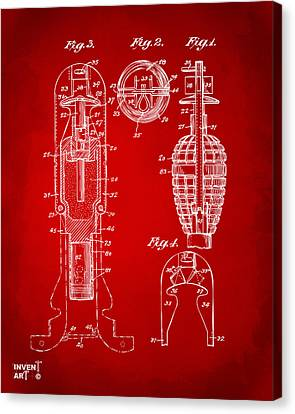 1921 Explosive Missle Patent Minimal Red Canvas Print by Nikki Marie Smith