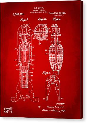1921 Explosive Missle Patent Red Canvas Print by Nikki Marie Smith