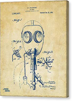 1921 Gas Mask Patent Artwork - Vintage Canvas Print by Nikki Marie Smith