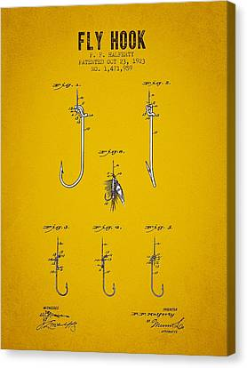 1923 Fly Hook Patent - Yellow Brown Canvas Print by Aged Pixel