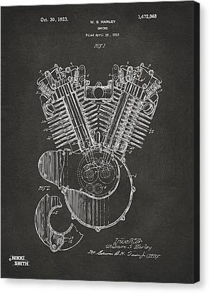 1923 Harley Engine Patent Art - Gray Canvas Print by Nikki Marie Smith