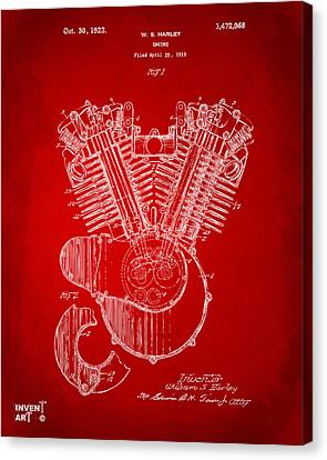1923 Harley Engine Patent Art Red Canvas Print by Nikki Marie Smith