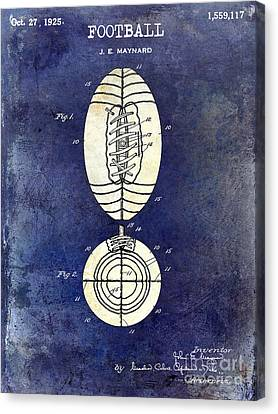1925 Football Patent Drawing 2 Tone Blue Canvas Print by Jon Neidert