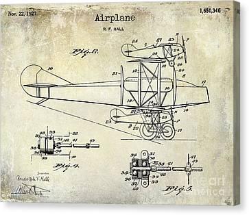 1927 Airplane Patent Drawing Canvas Print by Jon Neidert
