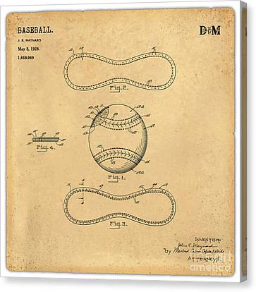 1928 Baseball Patent Art Maynard 1 Canvas Print by Nishanth Gopinathan