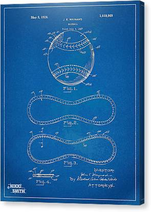 1928 Baseball Patent Artwork - Blueprint Canvas Print by Nikki Smith