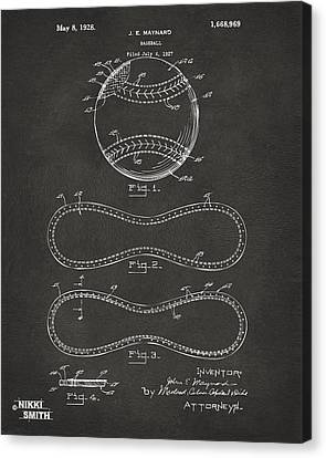 1928 Baseball Patent Artwork - Gray Canvas Print by Nikki Marie Smith