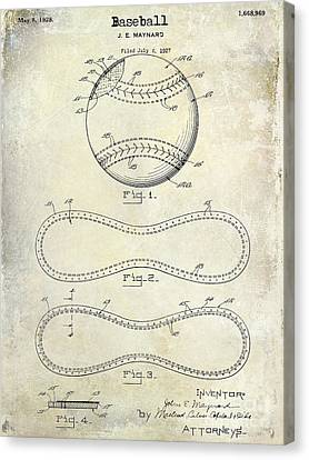 1928 Baseball Patent Drawing  Canvas Print by Jon Neidert