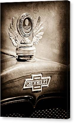 1928 Chevrolet Stake Bed Pickup Hood Ornament - Emblem Canvas Print by Jill Reger