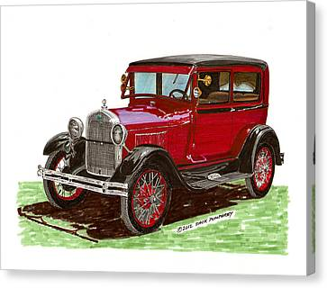 1928 Ford Model A Two Door Canvas Print by Jack Pumphrey