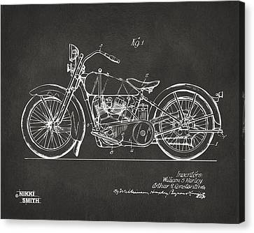 1928 Harley Motorcycle Patent Artwork - Gray Canvas Print by Nikki Marie Smith