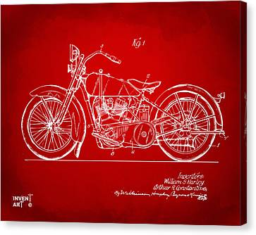 1928 Harley Motorcycle Patent Artwork Red Canvas Print by Nikki Marie Smith