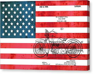 1928 Harley Patent American Flag Canvas Print by Dan Sproul