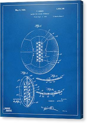 1928 Soccer Ball Lacing Patent Artwork - Blueprint Canvas Print by Nikki Marie Smith
