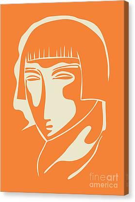 1928 Woman Face   Orange Canvas Print by Igor Kislev